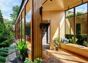 Sustainable home design by Altereco including double sashless windows.