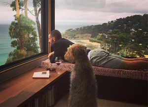 James and his dog Cooper enjoying the view.