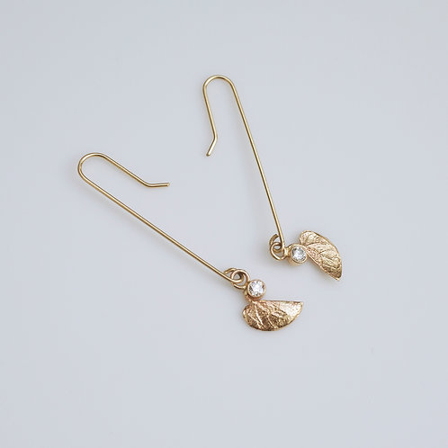 Redbud Leaf Gold and Diamond Earring