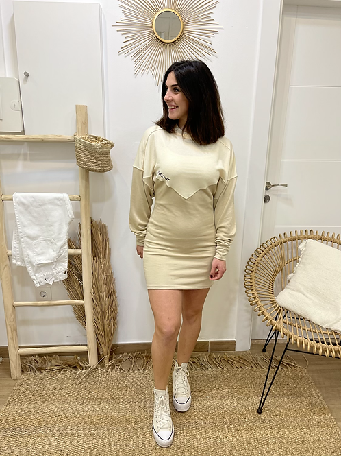 Vestido bicolor beige