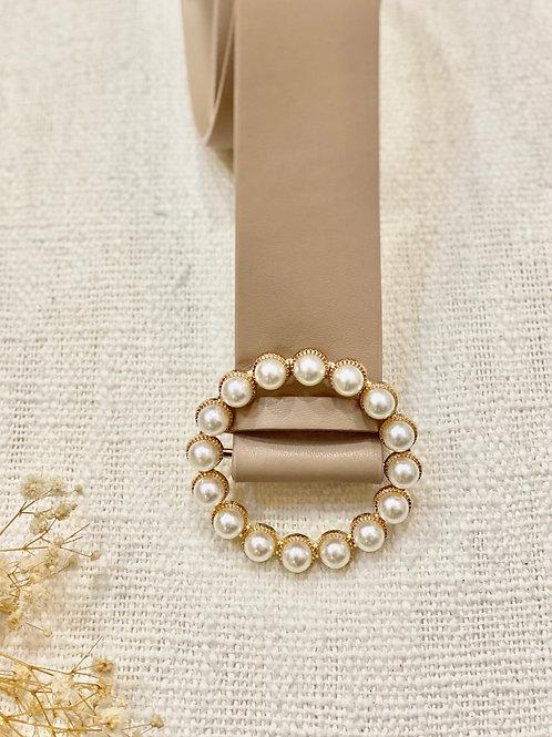 Cinturón beige Perlas