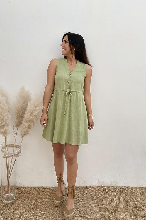 Vestido lino verde