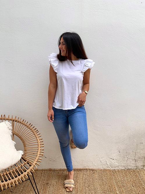 Camiseta blanca volante