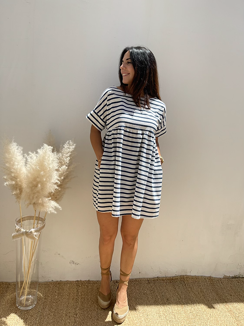 Vestido rayas marino