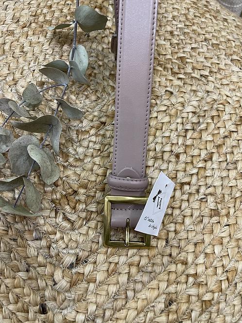 Cinturón beige hebilla cuadrada