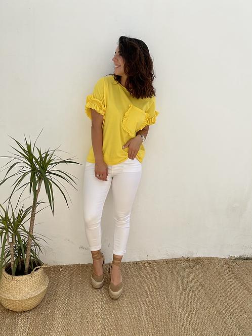 Camiseta bolsillo básica amarilla