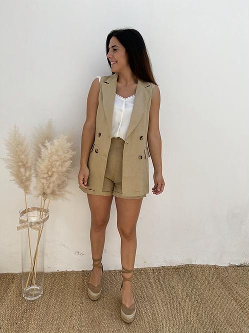 Short lino beige