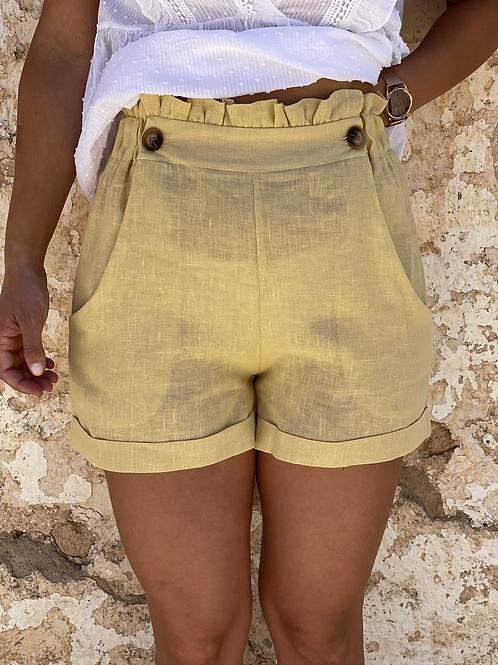 Short lino mostaza