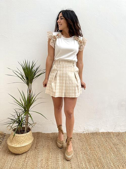 Falda estampada beige