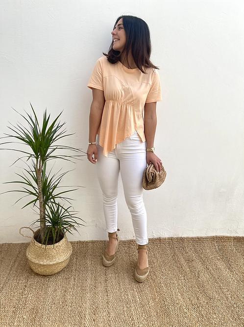 Camiseta Coral asimétrica