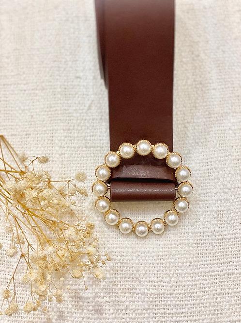 Cinturón Perlas beige