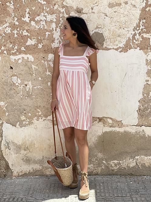 Vestido Eloísa rayas rosa