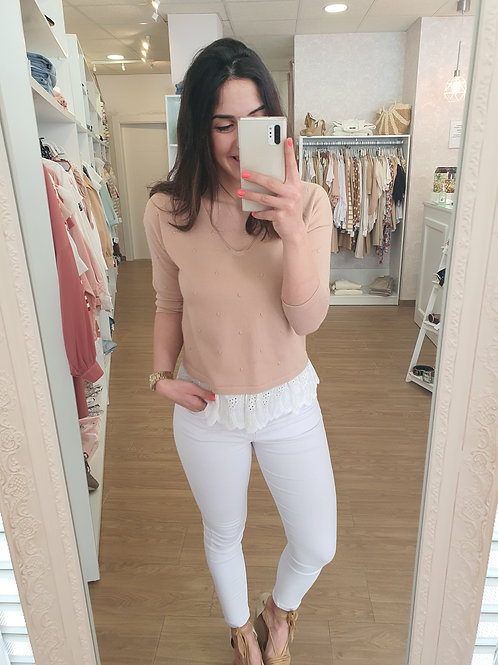 Jersey puntilla beige