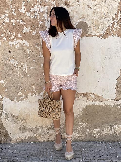 Camiseta volante rosa
