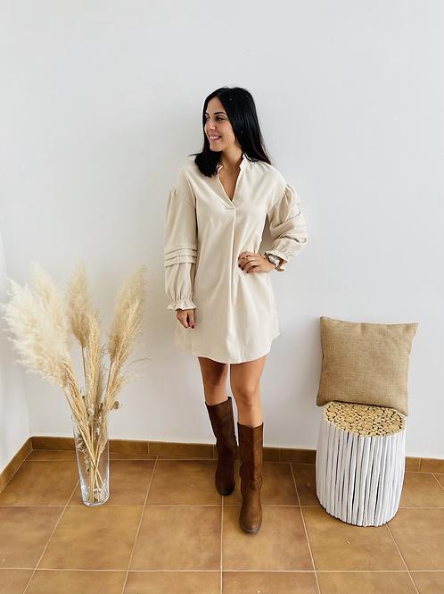 Vestido micropana beige