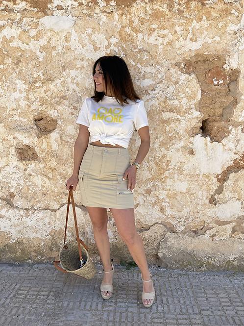 Falda bolsillos beige