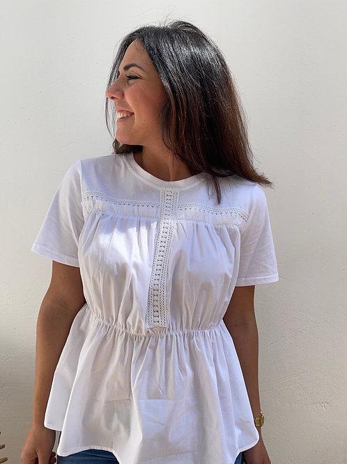 Camiseta fruncida blanca