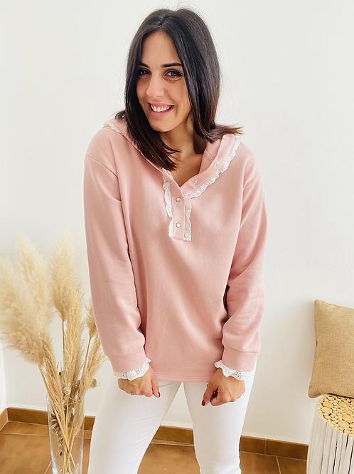 Sudadera rosa capucha