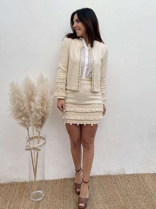 Falda beige abalorios