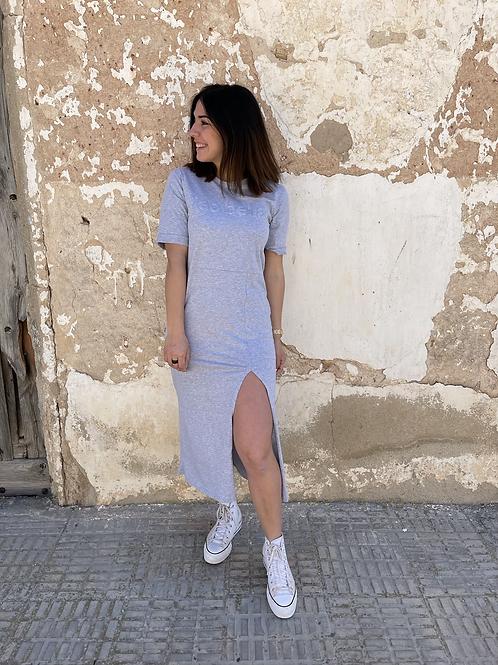 Vestido midi algodón gris
