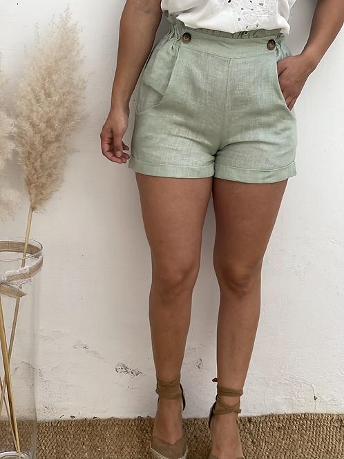 Short de lino verde
