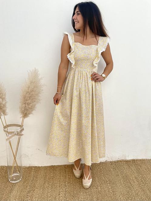 Vestido largo estampado amarillo
