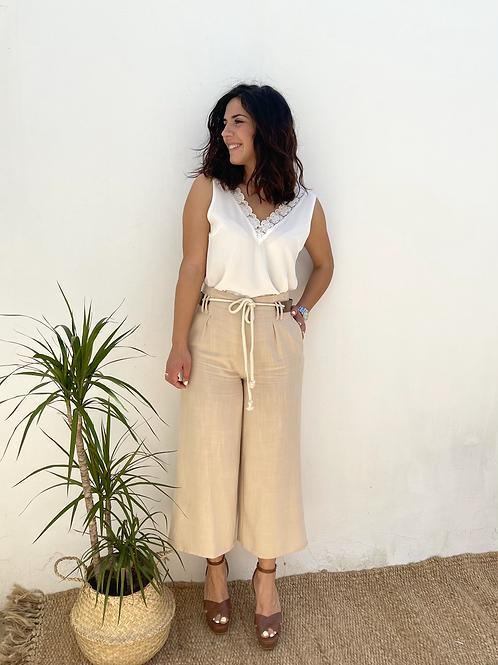 Pantalón lino beige