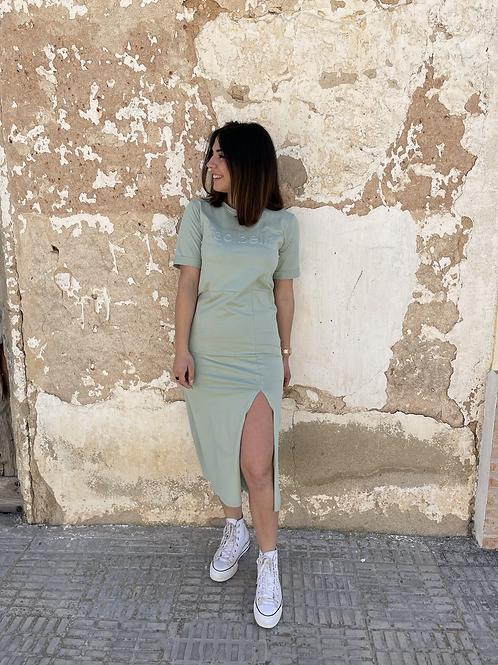 Vestido midi algodón verde
