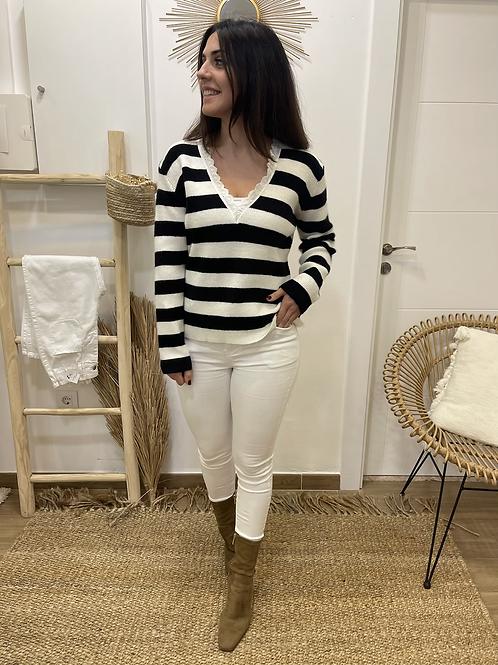 Jersey rayas blanco y negro