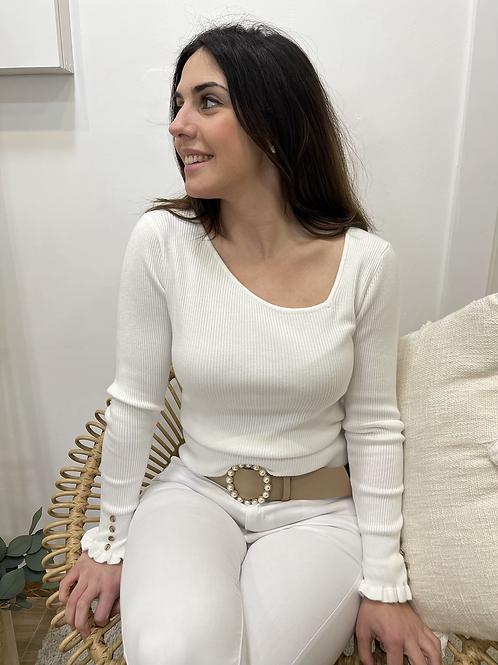 Jersey canalé blanco escote asimétrico de