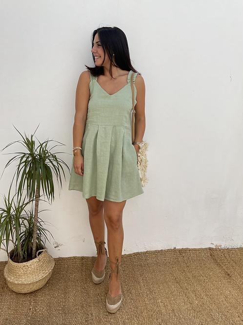 Vestido lino lazo verde