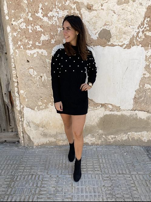 Vestido punto negro perla