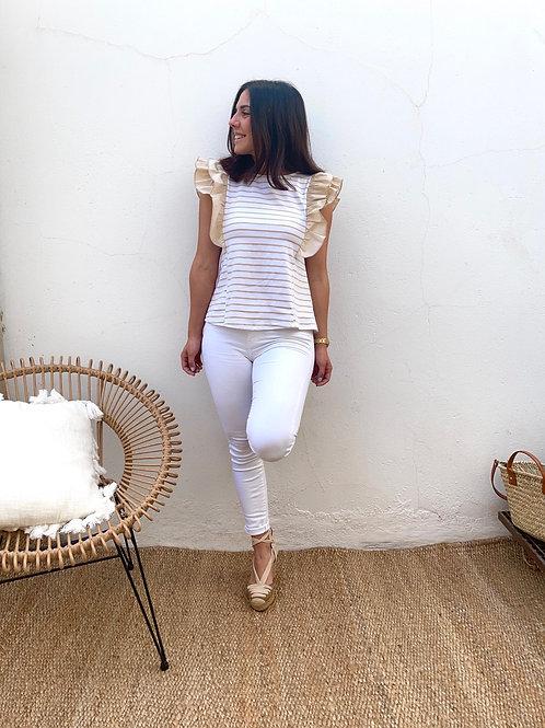 Camiseta rayas beige