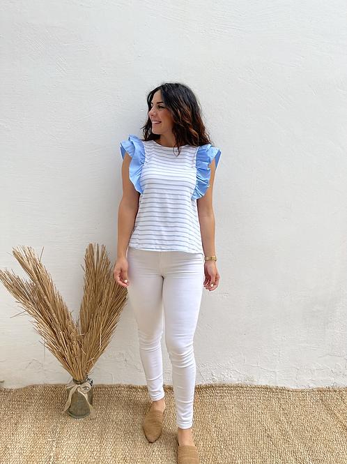 Camiseta volante rayas azul
