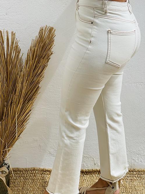 Pantalón beige flecado