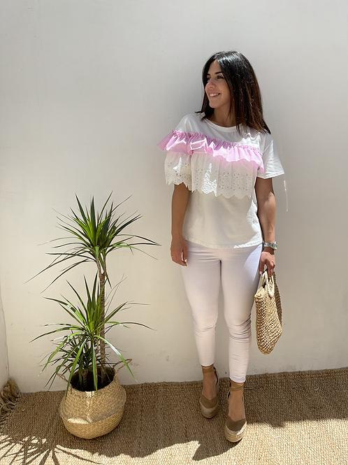 Camiseta Lucia volante rosa