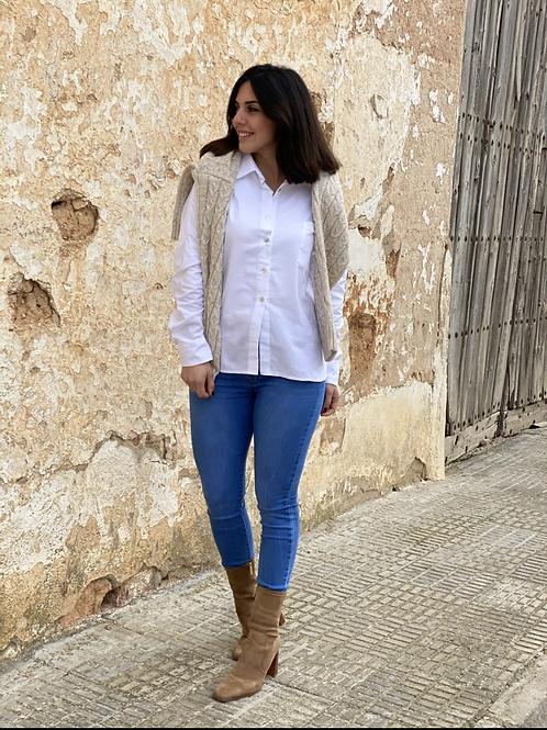 Camisa blanca básica bolsillo