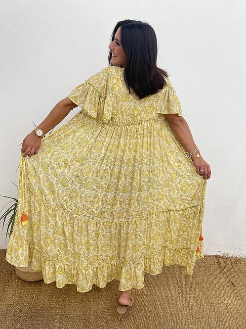Kimono estampado amarillo