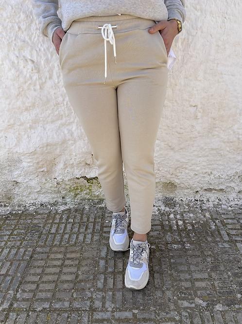 Pantalón beige algodón