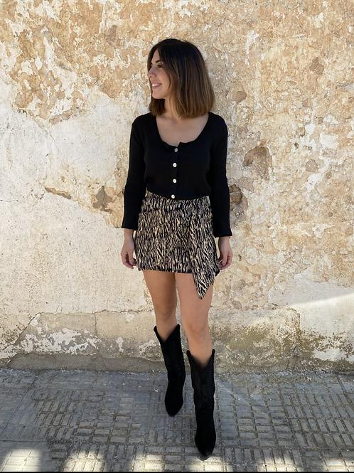 Falda combinada negra