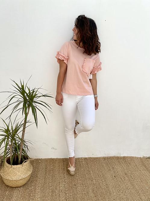 Camiseta bolsillo rosa