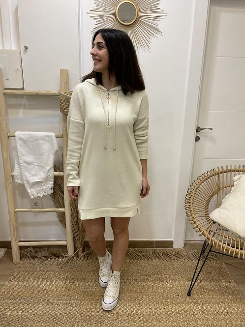 Vestido beige capucha