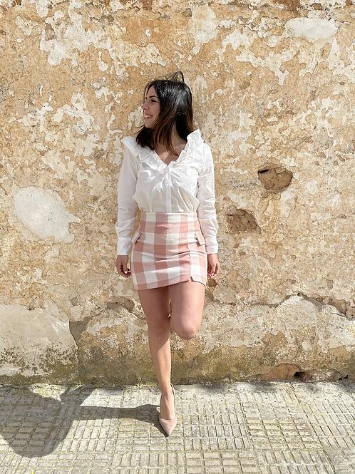 Falda cuadros rosa