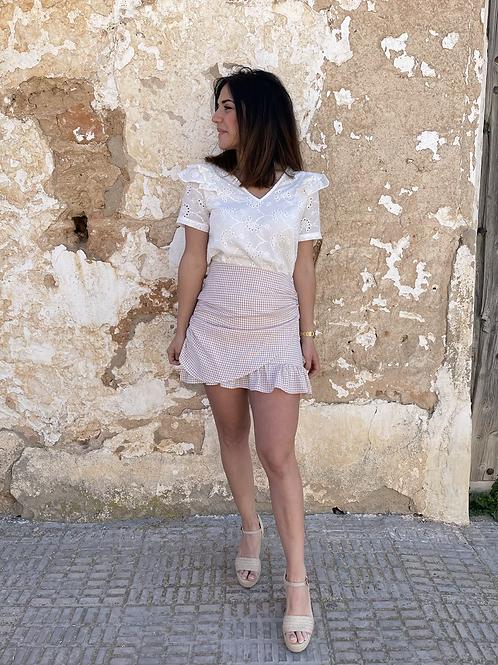 Falda cuadros beige