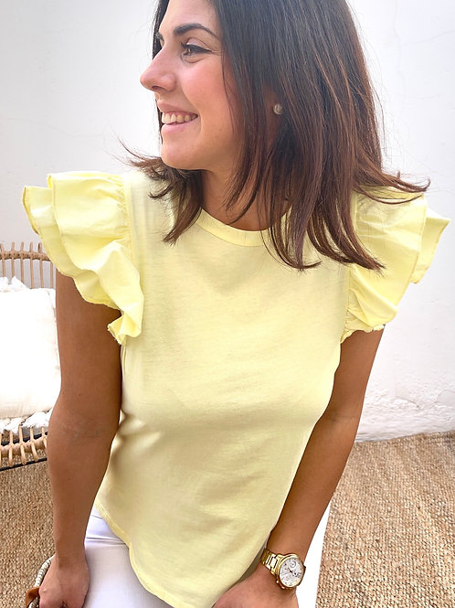 Camiseta volantes amarilla