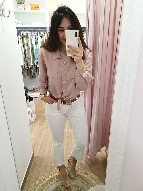 Camisa rosa nudo