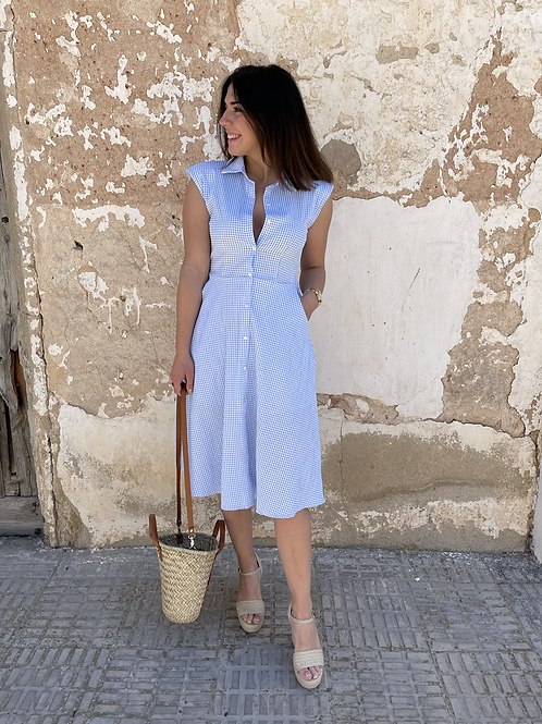 Vestido midi cuadros azul