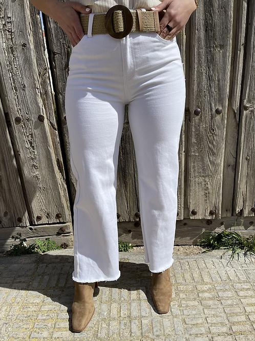 Pantalón fleco blanco