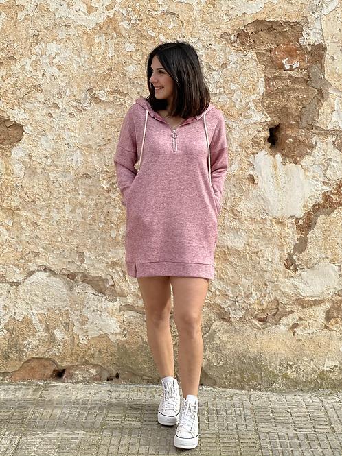Vestido capucha rosa