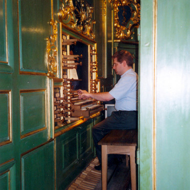 Practicing for the Concert in Bordeaux at the famous Dom Bédos Organ, July 2004
